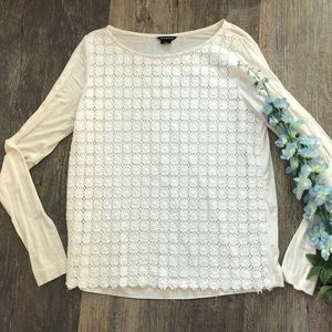 Club Monaco | White Lace Long Sleeve Top
